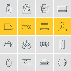 Vector Illustration Of 16 Device Icons. Editable Pack Of Photocopier, Photography, Game Controller And Other Elements.