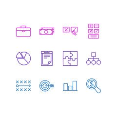 Vector Illustration Of 12 Business Icons. Editable Pack Of File, Goal, Magnifier And Other Elements.