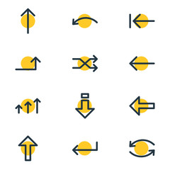 Vector Illustration Of 12 Sign Icons. Editable Pack Of Down, Up, Raise And Other Elements.