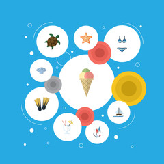 Flat Icons Conch, Tortoise, Sea Star And Other Vector Elements. Set Of Season Flat Icons Symbols Also Includes Star, Cream, Swimming Objects.
