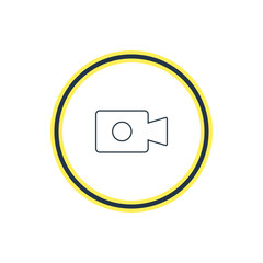 Vector Illustration Of Video Device Outline. Beautiful Computer Element Also Can Be Used As Movie Cam Element.