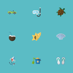 Flat Icons Cocos, Fly, Aqualung And Other Vector Elements. Set Of Season Flat Icons Symbols Also Includes Conch, Palm, Sink Objects.