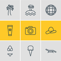 Vector Illustration Of 9 Season Icons. Editable Pack Of Sorbet, Palm, Earth And Other Elements.