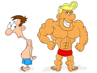 Bodybuilder and a Skinny Guy