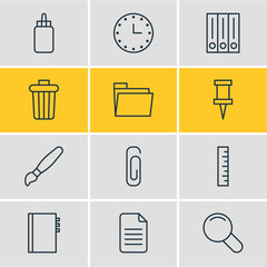 Vector Illustration Of 12 Tools Icons. Editable Pack Of Zoom, Pushpin, Meter And Other Elements.