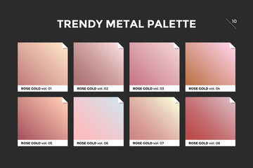 Rose gold gradient template. Collection palette of pink gold metallic gradient swatches with gloss for backgrounds, textures. Realistic rose gold metallic palettes, vector icons. Vector Illustration