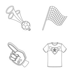 Pipe, uniform and other attributes of the fans.Fans set collection icons in outline style vector symbol stock illustration web.