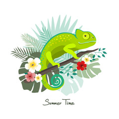 Green chameleon with a  trendy tropical jungle design with flower, palm and monstera leaf, summer time, vector illustration.