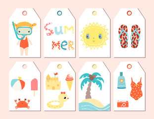Cute summer season gift tags for gift and presents or for promotions and sales