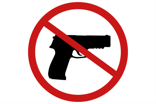 Prohibiting sign for gun. No gun sign. 3d illustration