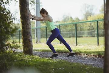 Female athlete exercising by tree