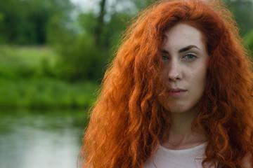 Redhead Woman Nature Portrait.