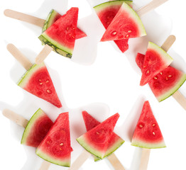 Watermelon slices, above view.
