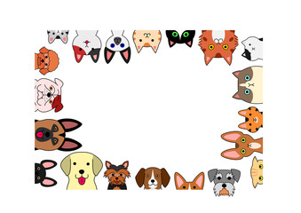 cute dogs and cats rectangle frame