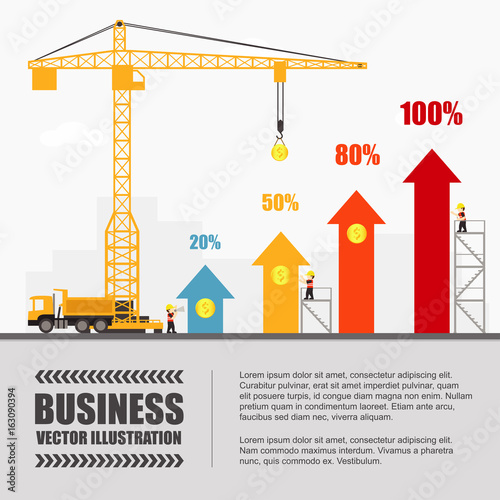 Crane and graph building. Infographic Template. Vector Illustration ...