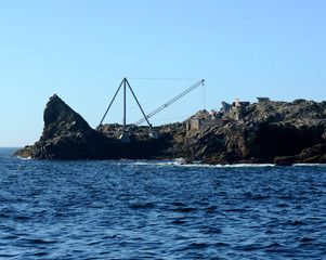 The crane and boat platform on the Southeast Farallon Island, allowing researchers to get on and off the island, and receive supplies
