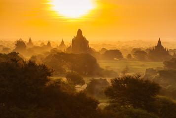 Beautiful sunrise over the ancient pagodas in Bagan, Myanmar