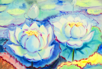 l painting white color of lotus  flowers  and green leaves