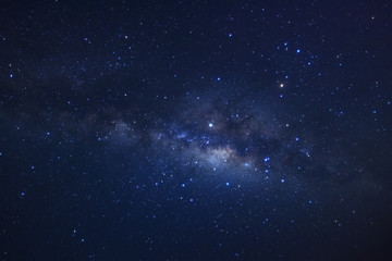 Milky way galaxy. Long exposure photograph.With grain