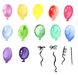 Balloons  hand painted watercolor clip art, party clip art, holiday, wedding, bridal shower