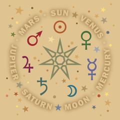 «Septener». The Ancient Star of Medieval magicians. Seven classical planets of Astrology.