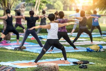 Beautiful asian girl practicing yoga Fototapete
