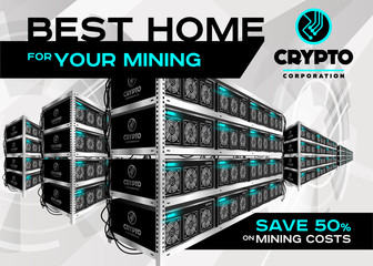 Detailed Vector Illustration of Bitcoin Mining Farm in Perspective. Racks of Mining Machines at Server Farm.