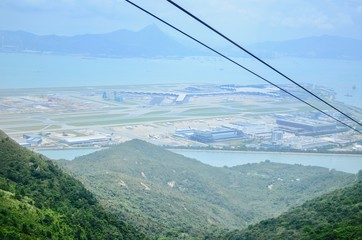 Aerial View of Hong Kong International Airport From Ngong Ping 360 Cable Cars