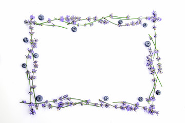 A frame of fresh lavender flowers and blueberries on a white background. Lavender flowers and...