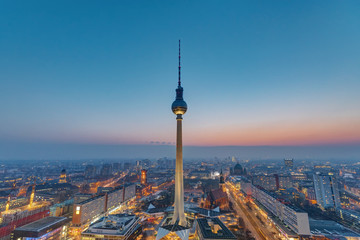 The Television Tower in Berlin after sunset