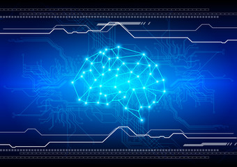abstract brain with circuit technology background. illustration vector design