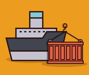 cargo ship and container icon over yellow background colorful design vector illustration