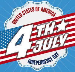 Promotional Design with Reminder Date and Flag for Independence Day, Vector Illustration