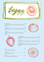 Vegetarian cafe menu hand drawn design