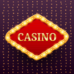 Casino luxury retro banner template with lightbulb glowing on garland lights