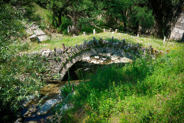 stone bridge of Zagoria. Old bridge in the gorge of Greece