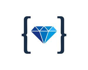 Diamond Code Icon Logo Design Element