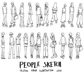 Set of Doodle People Hand drawn Sketch line vector illustration eps10