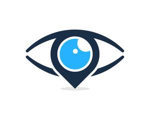 Pin Eye Icon Logo Design Element