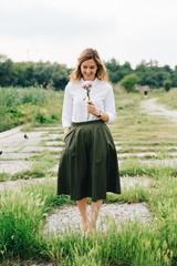 Stylish blond woman portrait outdoors
