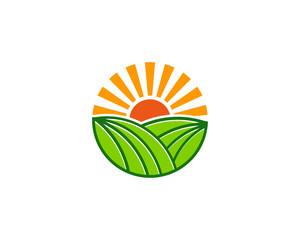 Sun Farm Icon Logo Design Element