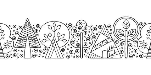 Vector Hand Drawn Seamless Border Pattern Decorative Stylized Black And White Childish Trees