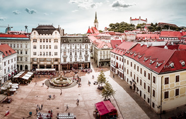 Beautiful panoramic view over historical center of Bratislava in Slovakia
