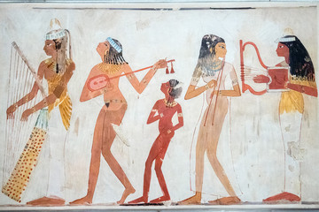 Egyptian paintings on wall in valley of Kings