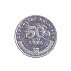 Croatian lipa currency, coins of the world isolated on white background as a graphic resource.