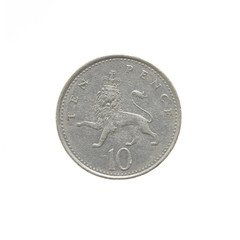 British Ten Pence, coins of the world isolated on white background as a graphic resource.