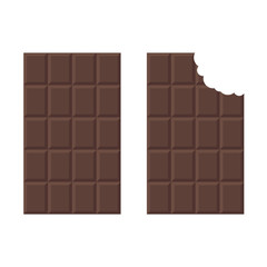 A chocolate bar in a flat style. A bitten icon of a chocolate. Vector illustration