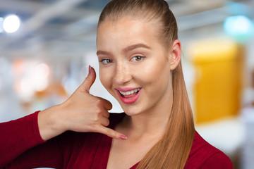 Portrait Beautiful Happy Woman