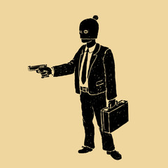 Robber In A Suit With A Pistol Vector Illustration
