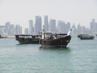 Doha skyline across the fishing harbour